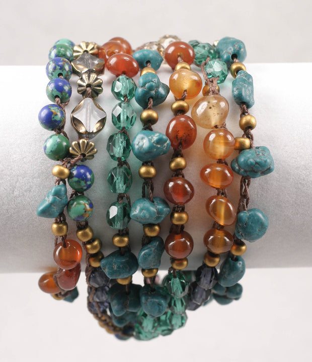 """BOHEMIAN"" Carnelian, Turquoise Mixed Gem Beaded Long Necklace or Wrap Bracelet - 56"""