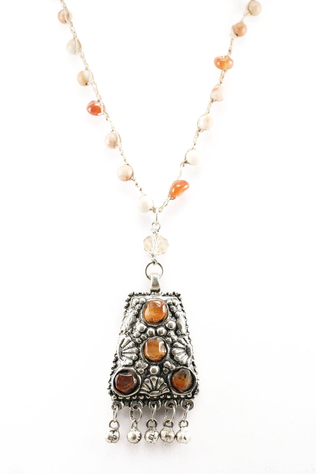 """TRAVELER"" Bedouin Pendant Crochet Red Agate and Carnelian Necklace - 39"""