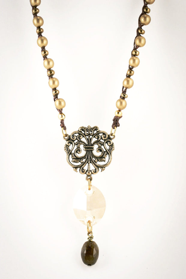 """TRAVELER"" Filigree Chain Pendant Necklace with Swarovski Crystal Pendant"