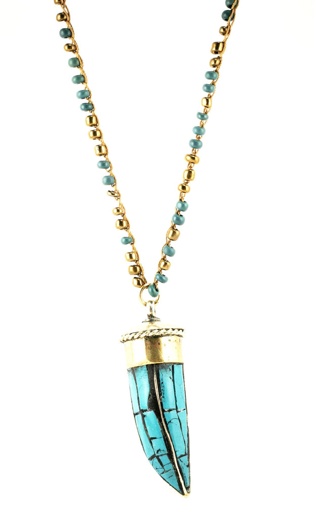 """CHARMED"" Crochet Beaded Turquoise Horn Pendant Necklace 39"""
