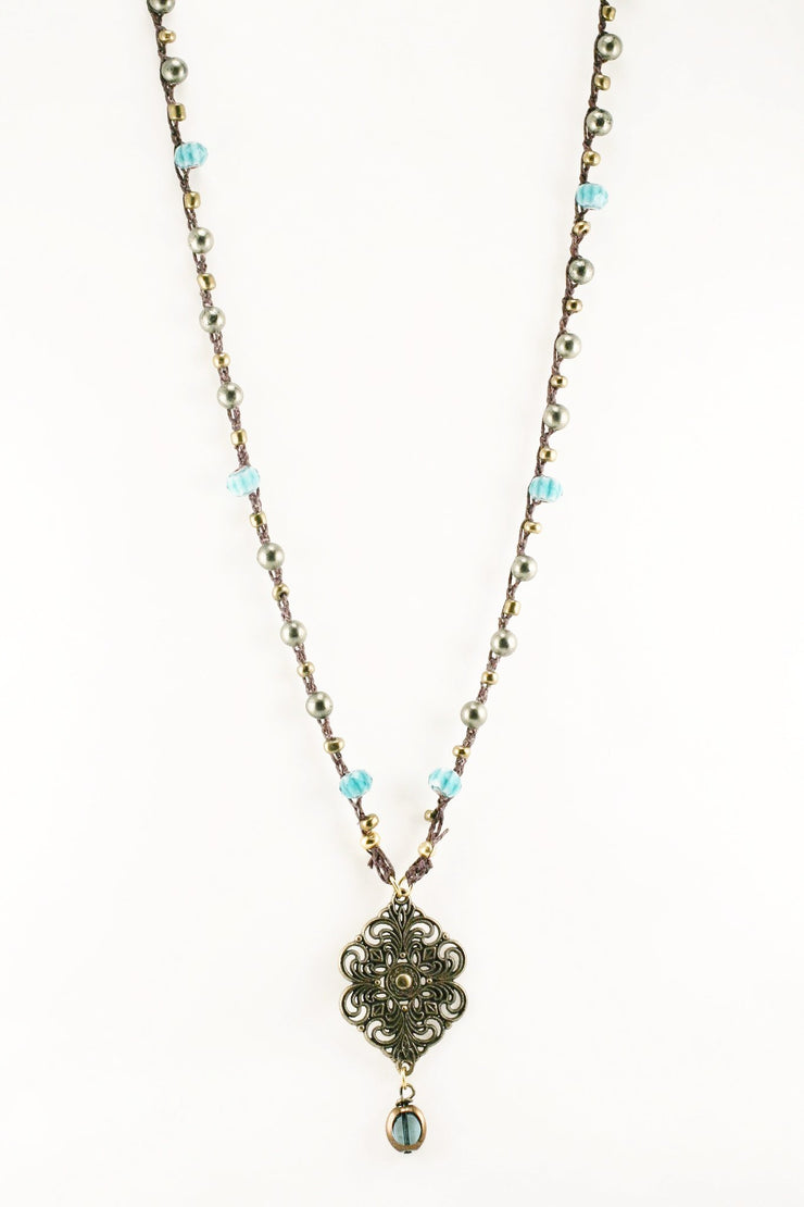 """CHARMED"" Pyrite Beaded Filigree Pendant Necklace - 34"""