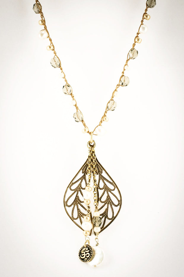 """CHARMED"" Gold Leaf Pendant Necklace With Pearls"