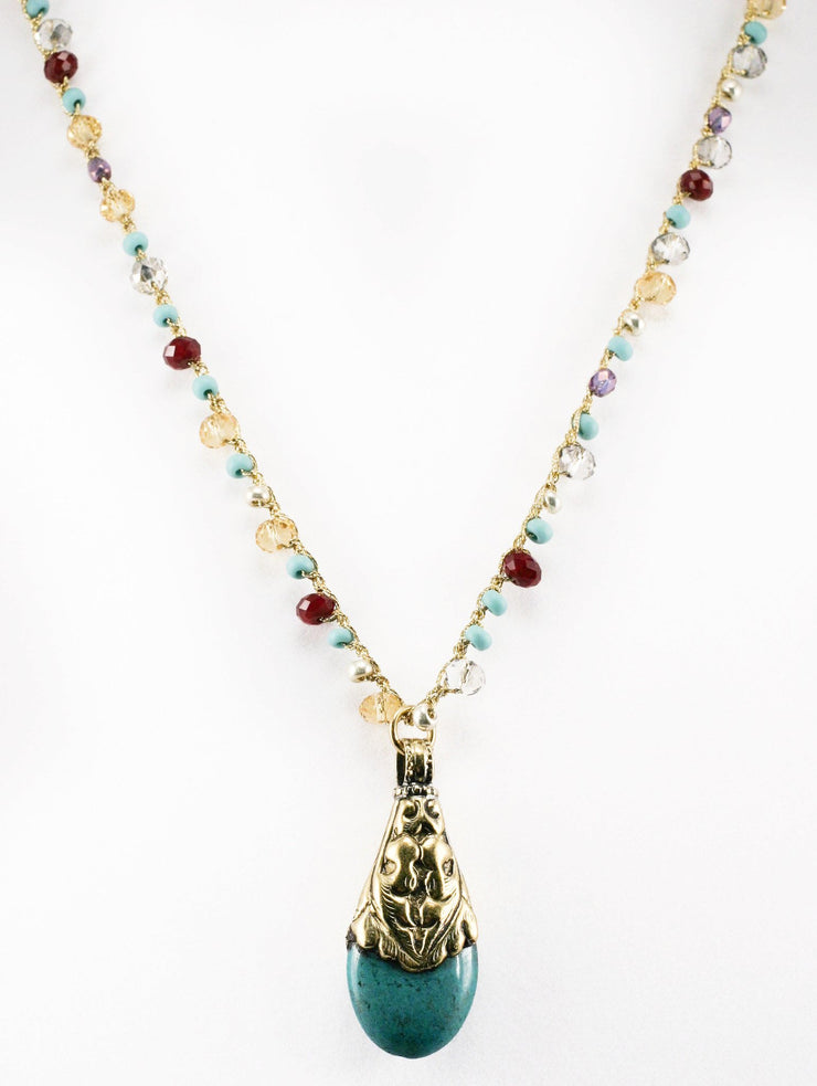 """CHARMED"" Long Gemstone Beaded Necklace with Turquoise Drop Pendant - 30"""