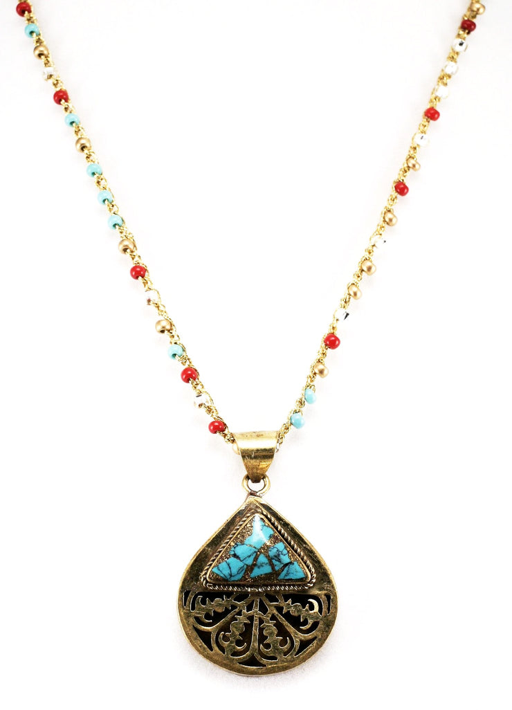 """TRAVELER"" Gold Chain Necklace With Teardrop Turquoise Pendant - 19"""