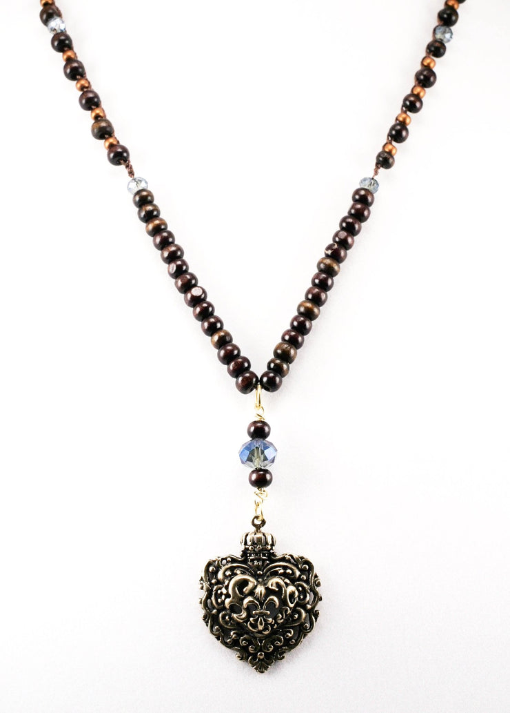 """TRAVELER"" Wood Bead Crochet Necklace With Fleur De Lis Heart Pendant - 36"""