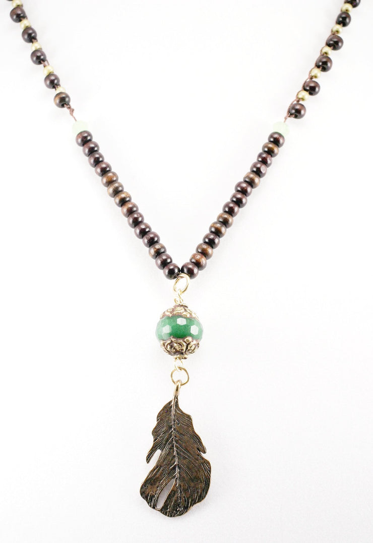 """TRAVELER"" Tibetan Emerald Bead and Wood Long Necklace With Leaf Charm"