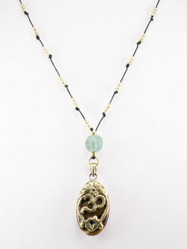 """MANTRA"" Cotton Cord Necklace With Glass And Om Bead Pendant - 39"""