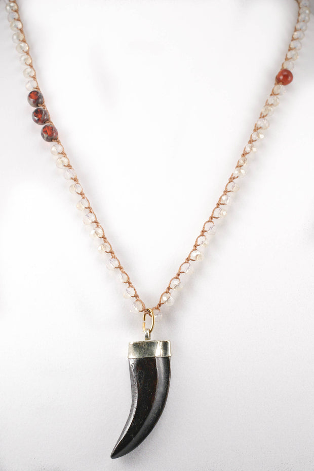 """CHARMED"" Opal, Carnelian and Turquoise Beaded Chain Necklace With Black Horn Pendant"