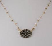 """MANTRA"" Enightenment Beaded Necklace With Lotus Charm - 18"""