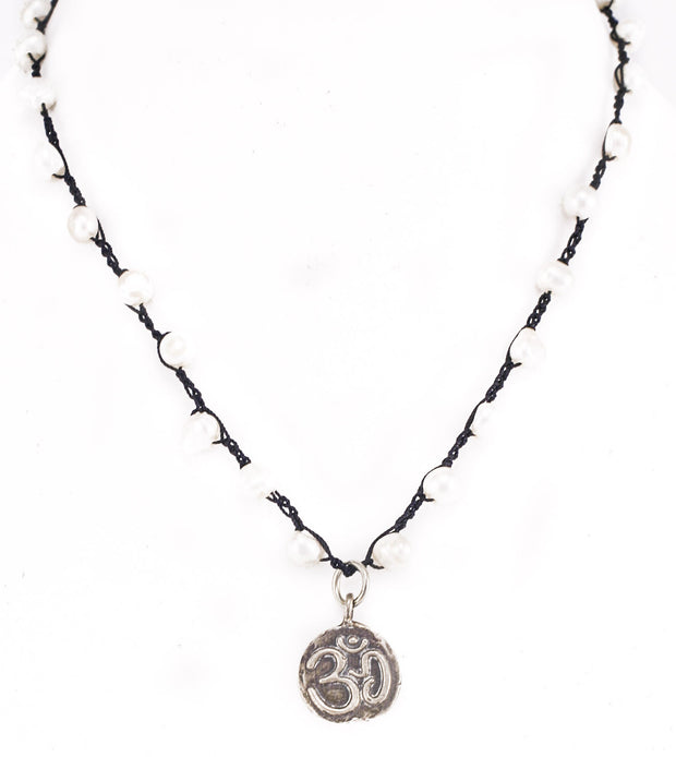 """MANTRA"" Black Silk and Pearl Beaded Om Pendant Necklace - 18"""