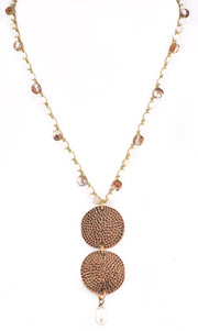 """TRAVELER"" Pink Agate and Granulated Disc Necklace - 39"""