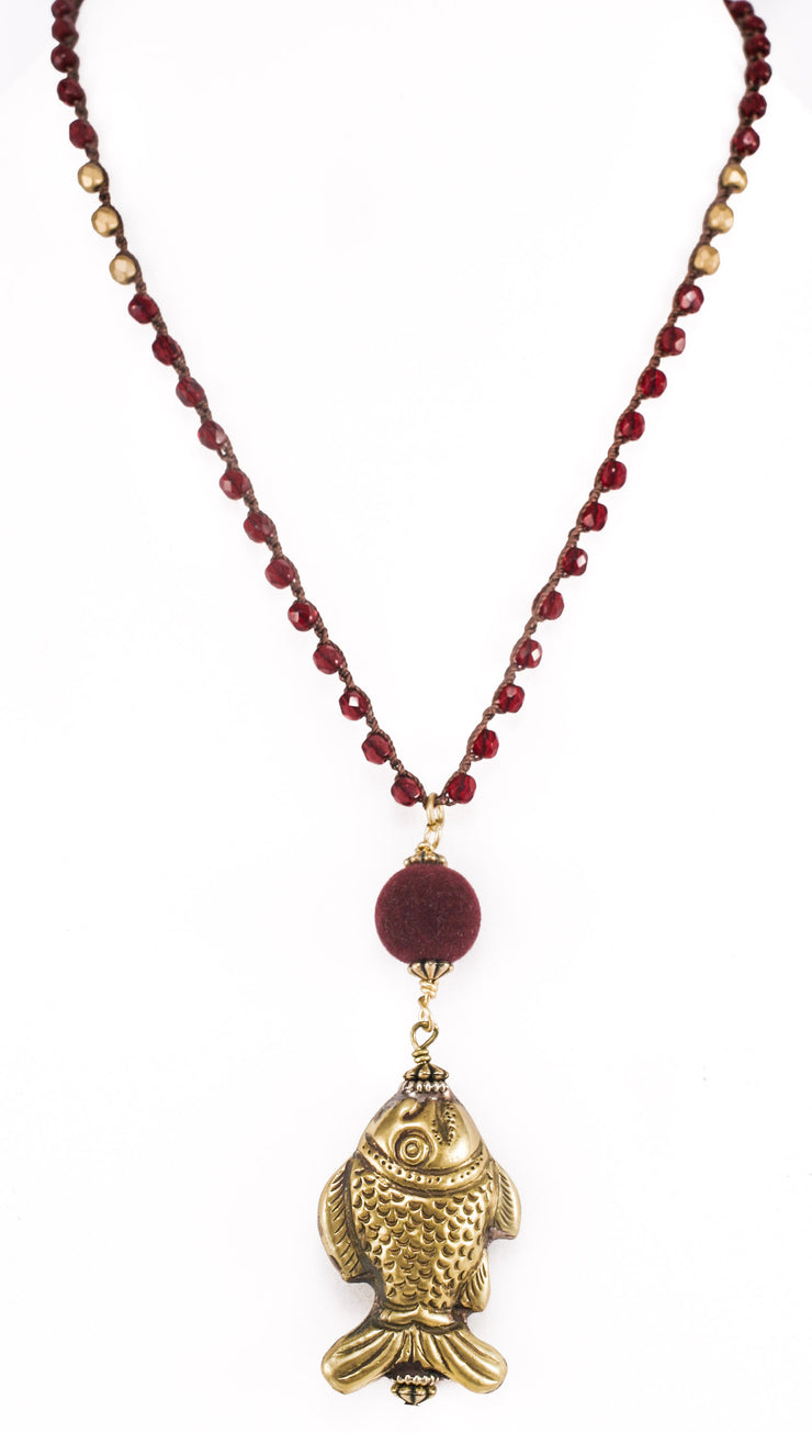 """TRAVELER"" Garnet Crystal Fish Pendant Long Layer Necklace - 38"""