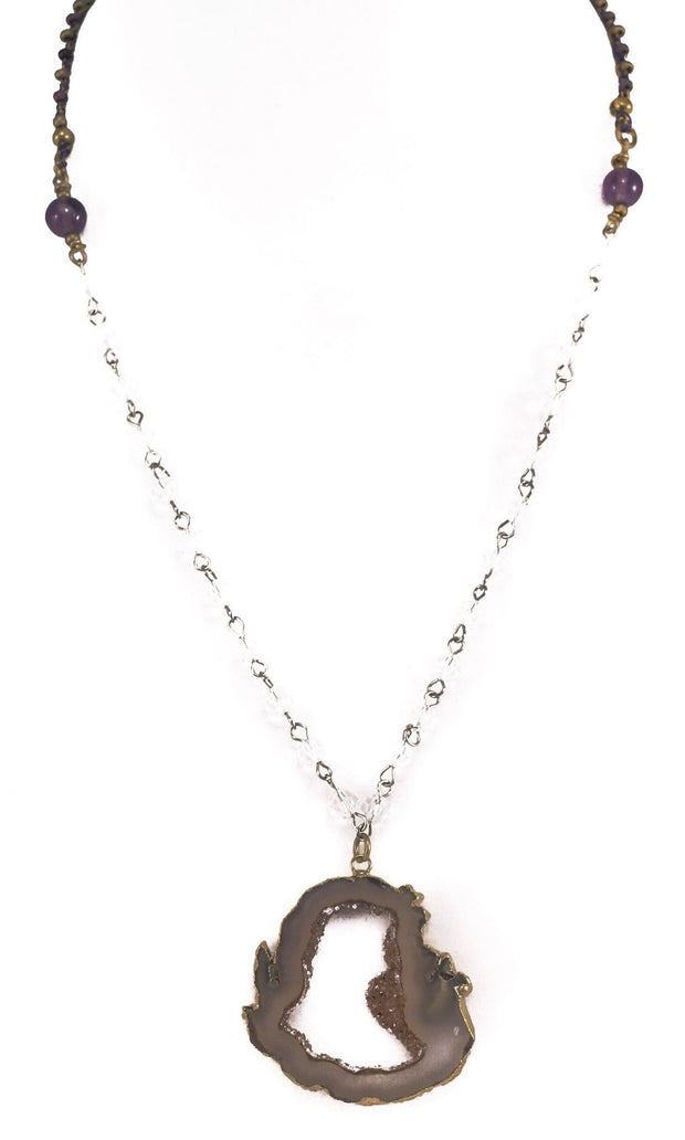 """CHARMED"" Open Druzy Pendant Long Layer Necklace - 38"""