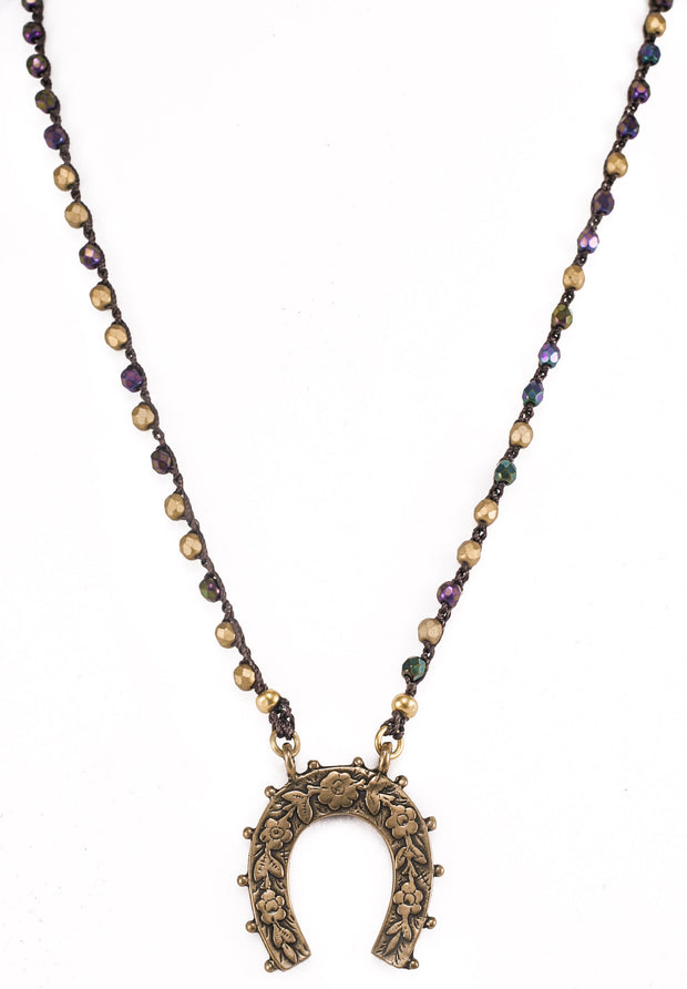 """CHARMED"" Beaded Necklace With Iris and Golden Beads Lucky Horseshoe Pendant - 35"""