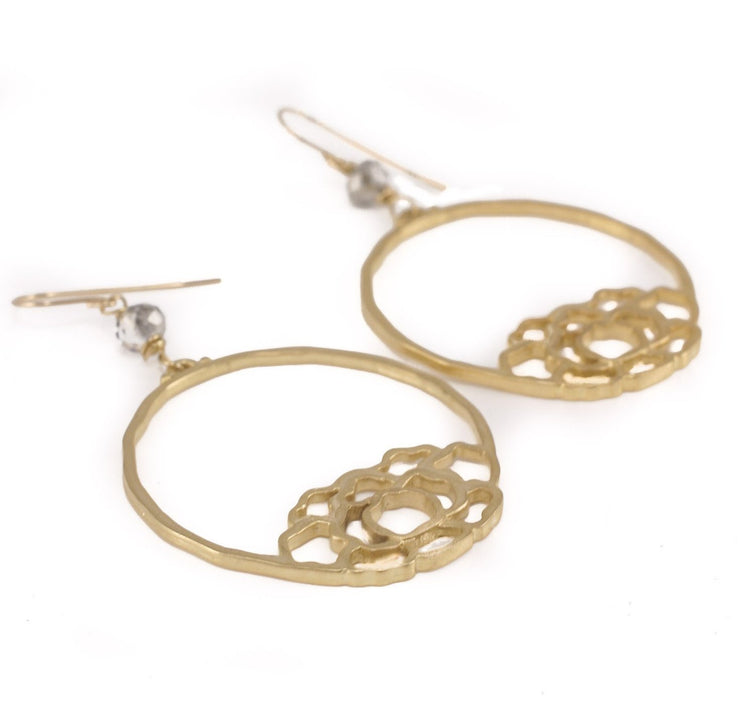"""MANTRA"" Lotus Filigree Open Hoop Crystal Statement Earrings"
