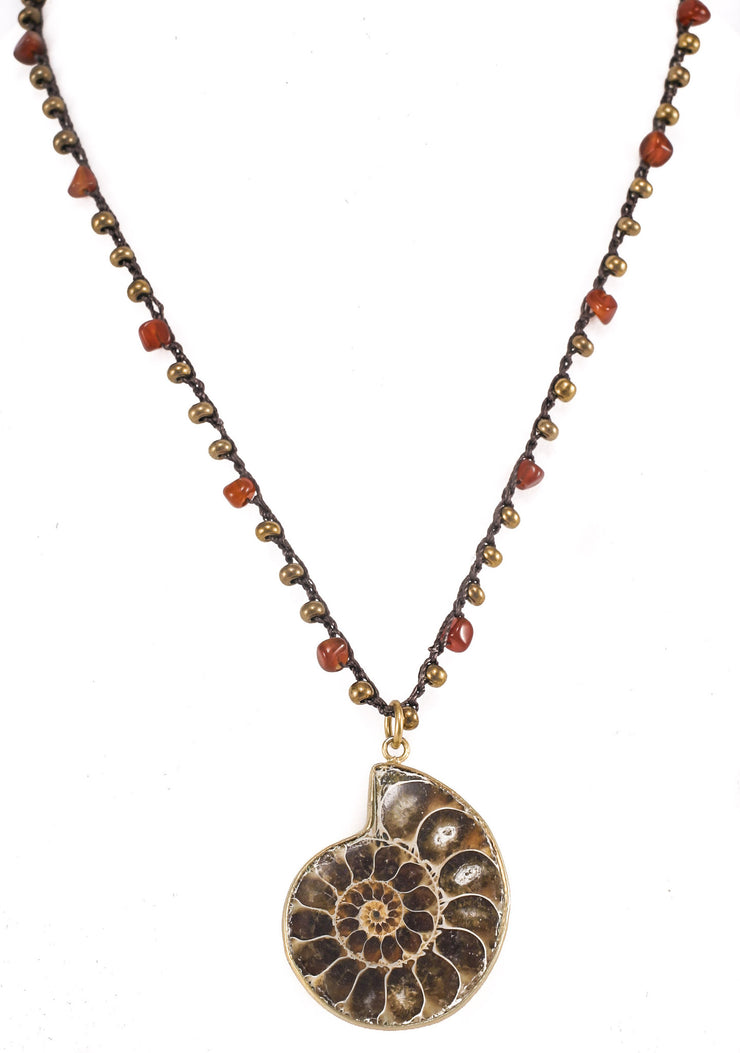"""TRAVELER"" Carnelian Beaded Pewter Snail Shell Pendant Necklace - 30"""
