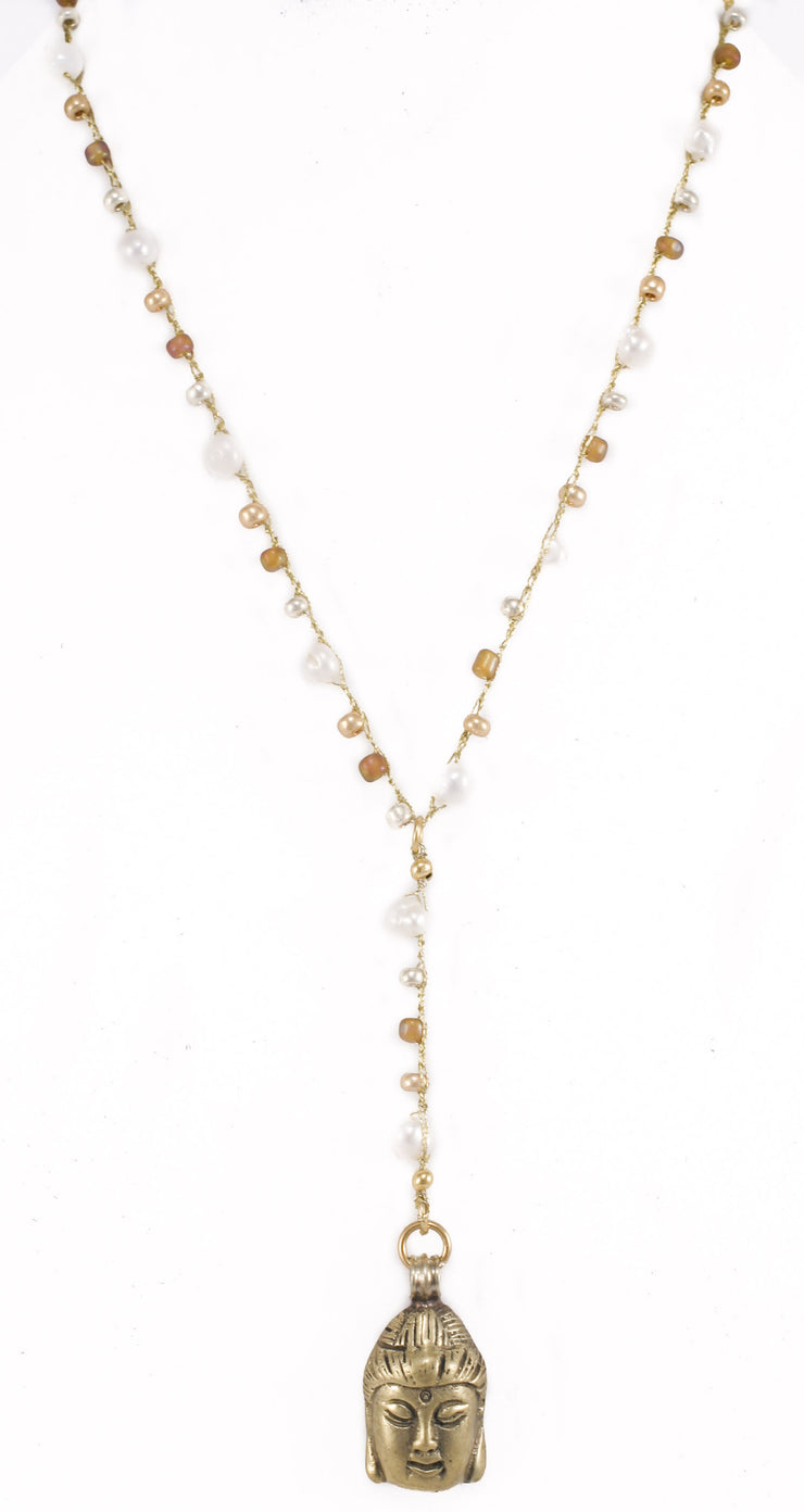 """MANTRA"" Freshwater Pearls Beaded Y-Necklace With Buddha Pendant - 36"""