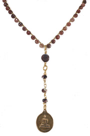 """MANTRA"" Muscovite Beaded Buddha Disc Pendant Y-Necklace - 36"""