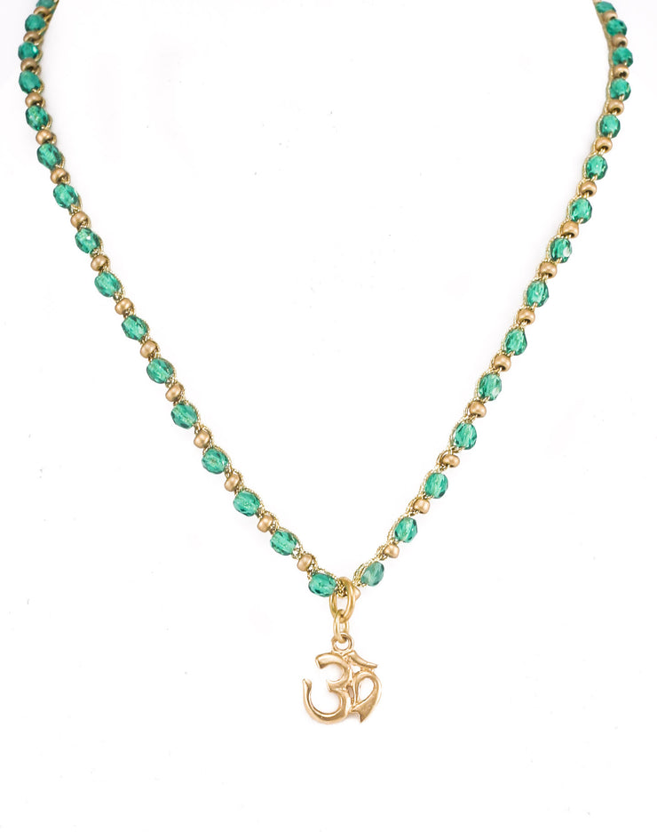 """MANTRA"" Teal beaded Chain with Gold Om Pendant"