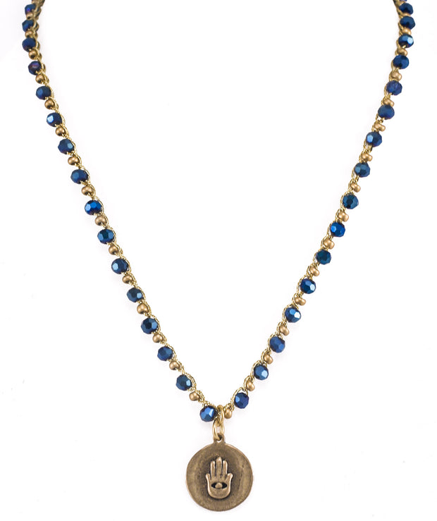 """CHARMED"" Cobalt Blue Crystal Beaded Necklace With Hamsa Pendant - 18"""