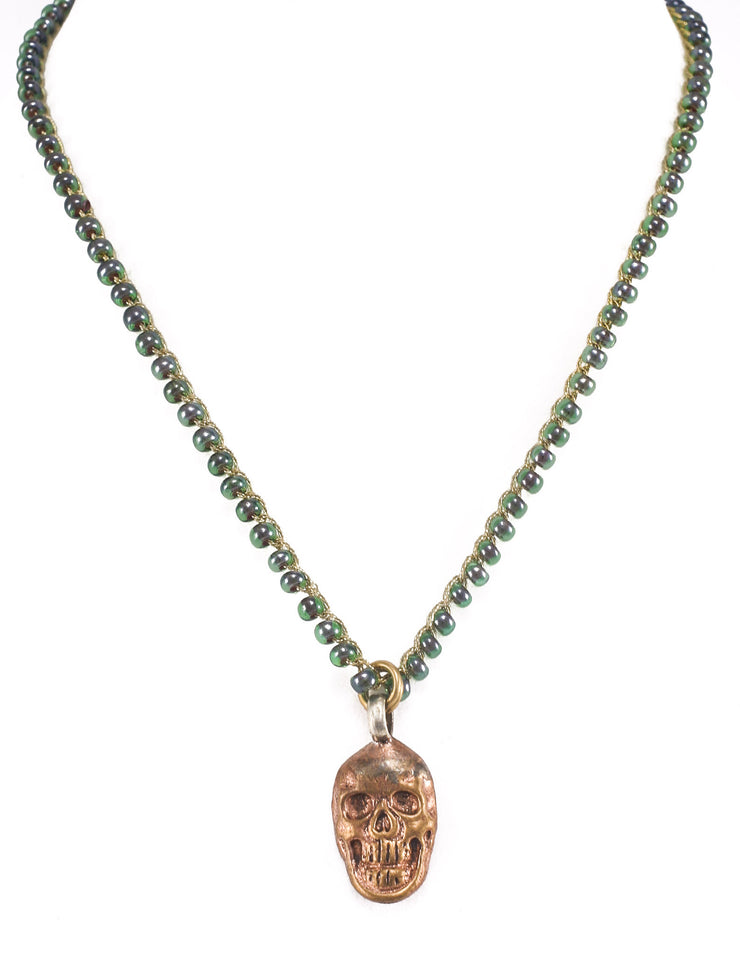 """MANTRA"" Teal Seed Bead Necklace With Copper Skull Pendant - 16"""