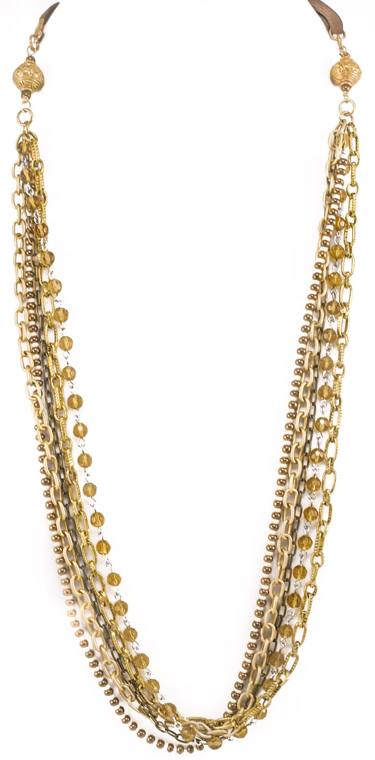 """TRAVELER"" Multi-Layer Chains and Beaded Statement Necklace - 42"""