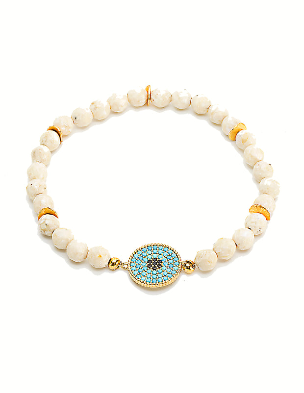 """BOHEMIAN"" Blue Jade and Onyx Pave Disc Cream Jasper Stretch Bracelet"