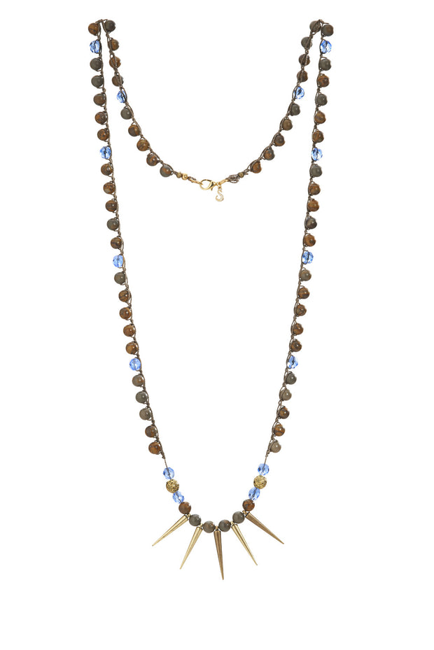 """CHARMED"" Gemstone beaded Spike Necklace With Sapphire Crystals - 40"""