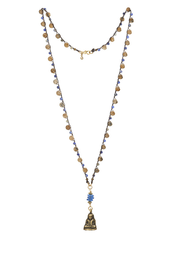 """MANTRA"" Beadgrain and Sodalite Beads Crochet Necklace with Buddha pendant - 35"""