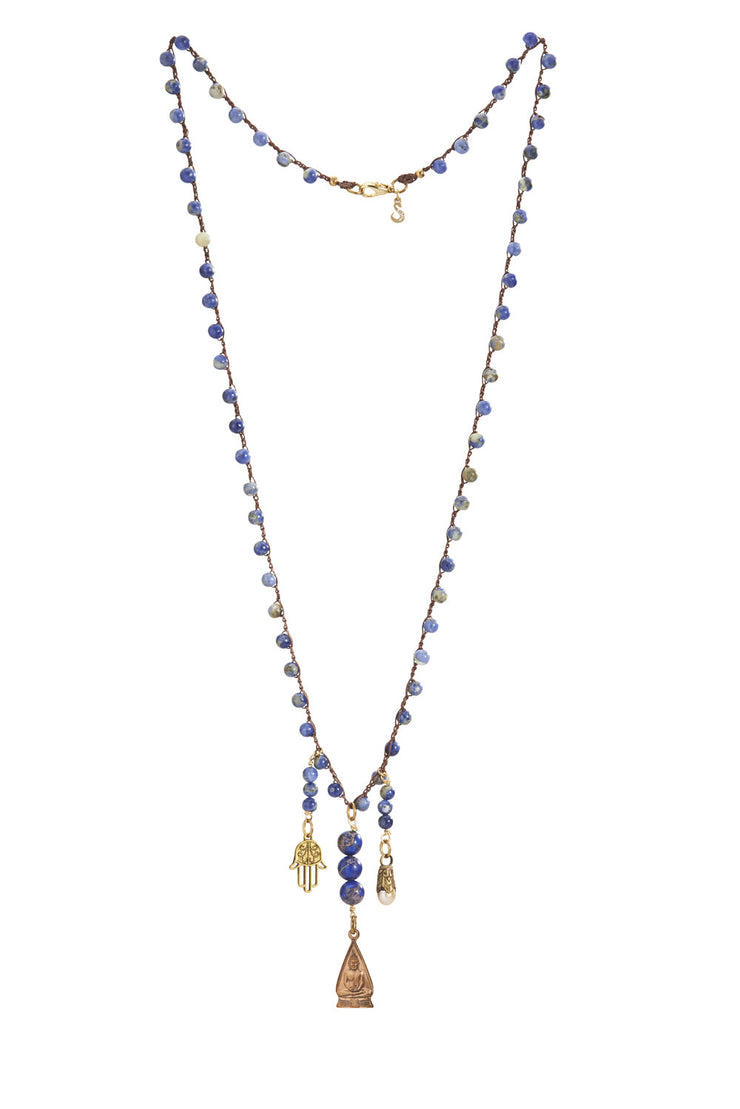 """CHARMED"" Wisdom and Protection Sodalite Blue Beaded Long Necklace in Hamsa, Buddha and Tibetian Charm Strands"