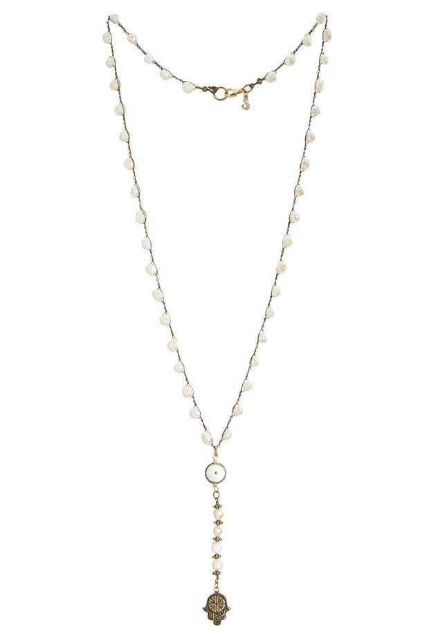 """CHARMED"" Rosary Style Pearl Hamsa Pendant Y-Necklace - 38"""