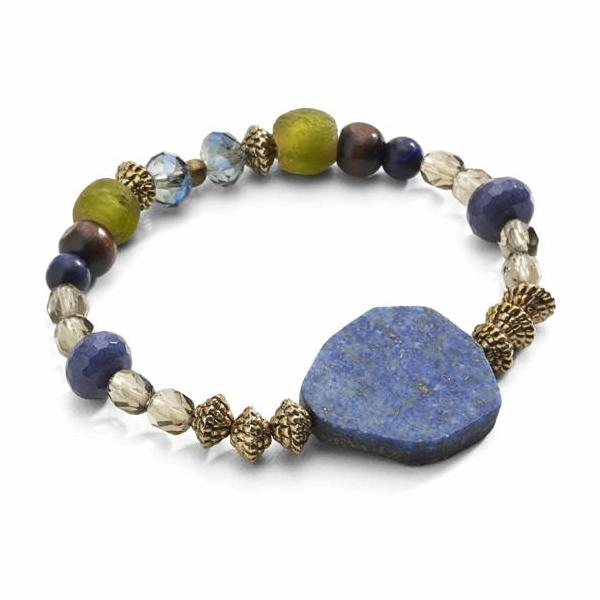 """TRAVELER"" Sodalite Focal Stretch Bead Bracelet"