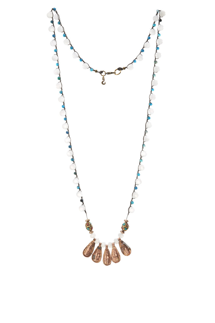 """TRAVELER"" Signature Beaded necklace with Ethiopian Copper Charms"