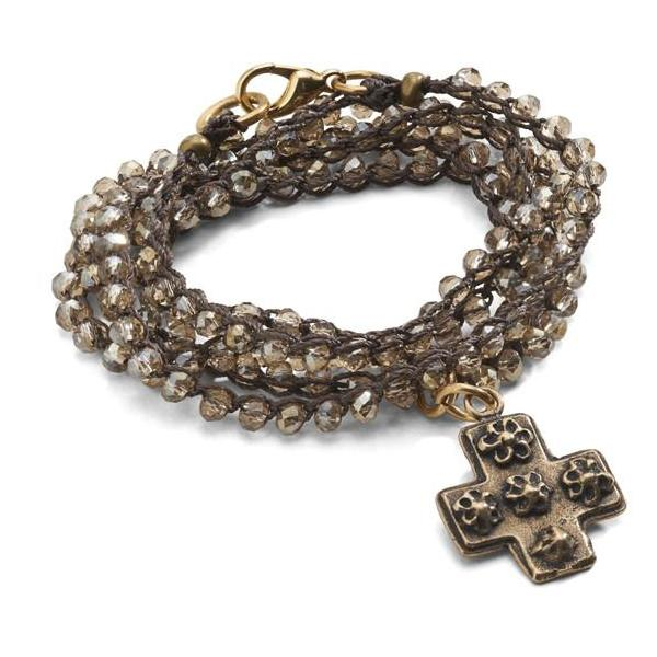 """CHARMED"" Cross Charm Convertible Wrap Necklace/Bracelet"