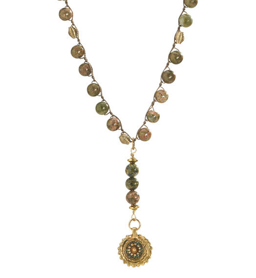 """TRAVELER"" Unakite Beaded Old World Floral Charm Necklace - 39"""
