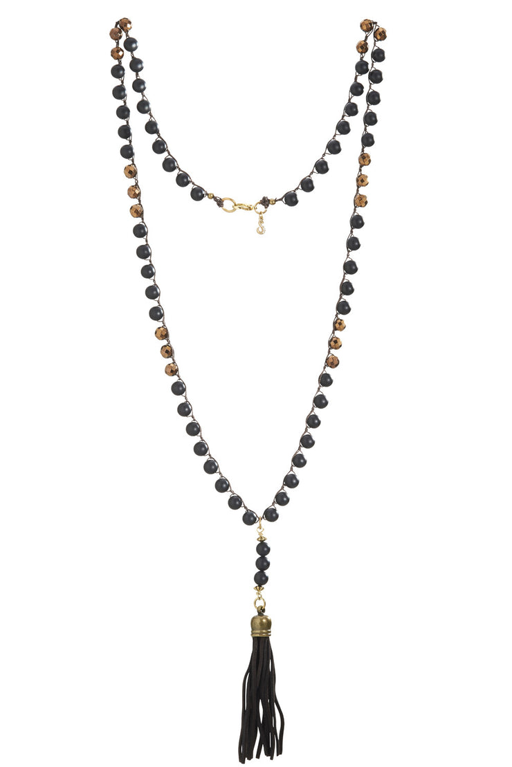 """CHARMED"" Suede Black Tassel Beaded Copper Beaded Long Necklace - 42"""