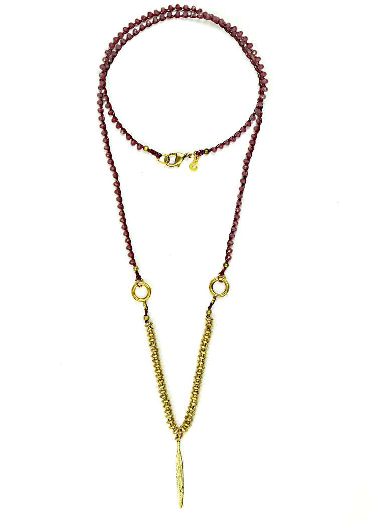 """BOHEMIAN"" Textured Feather Red Jade Crochet Chain Layering Necklace - 39"""