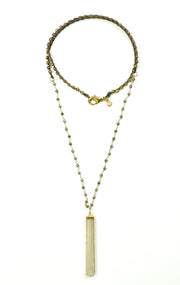 """Bohemian"" Pyrite Beaded Selenite Bezel Pillar Long Necklace, 36"""