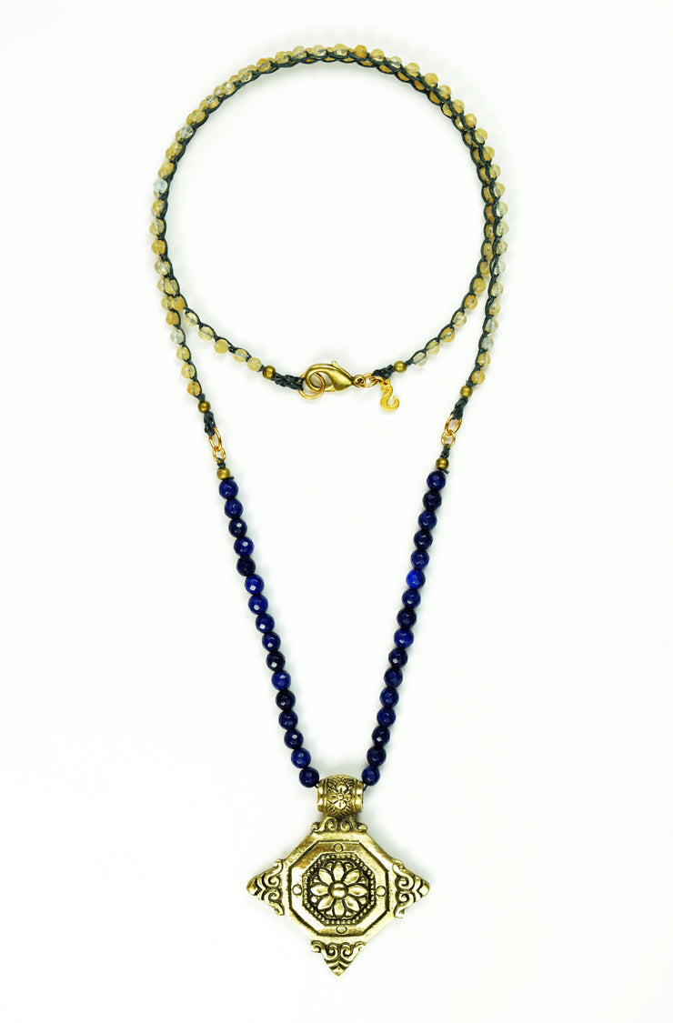 """BOHEMIAN"" Four Point Statement Floral Pendant with Blue Jade and Rutilated Quartz Long Necklace"