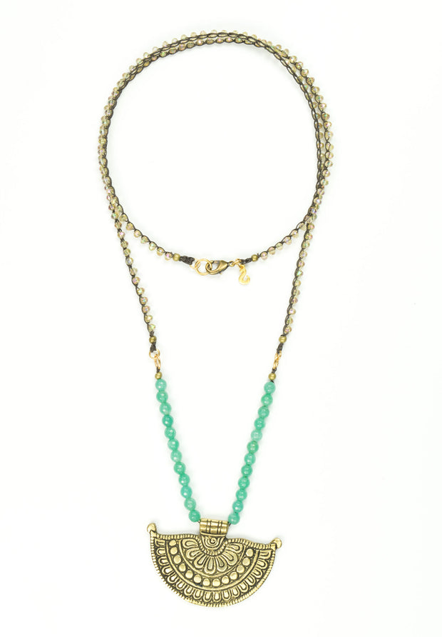 """BOHEMIAN"" Statement Tibetan Fan Pendant and Crystal with Aventurine Crochet Long Necklace - 36"""