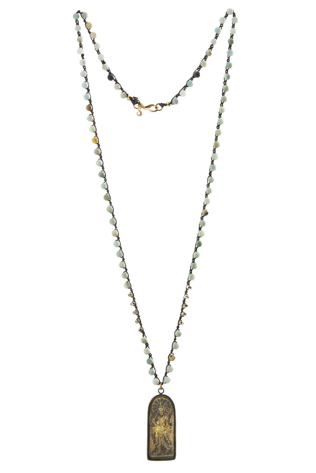 """MANTRA"" Amazonite and Stone Buddha Long Layering Necklace - 42"""