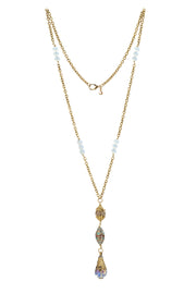 """TRAVELER"" Snow White Crystal Tibetan Pendant Necklace - 39"""