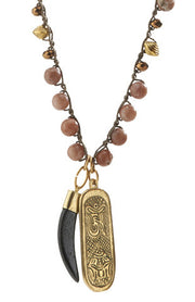"""MANTRA"" Lepidolite Beaded Black Horn and Dorje Pendant Necklace"
