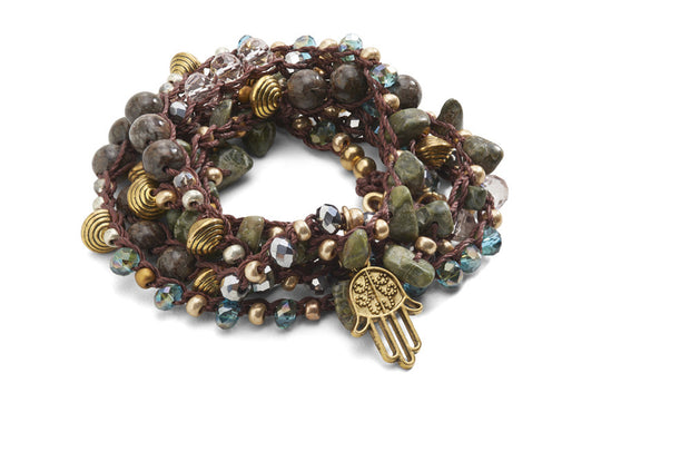 """CHARMED"" Natural Gemstone and Crystal Beaded Hamsa Necklace - 48"""
