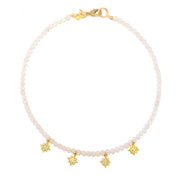 """SHIMMER"" Pavé CZ Star Drops Gemstone Collar Necklace"