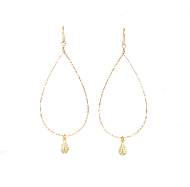 """SHIMMER"" Open Wire Teardrop with Pavé CZ Teardrop Earrings"