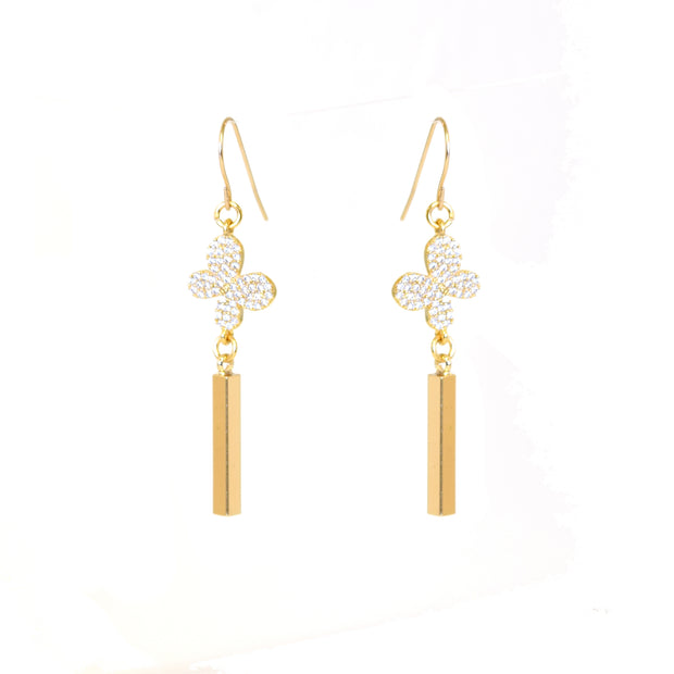 """SHIMMER"" Pavé CZ Butterfly Bar Drop Earring"