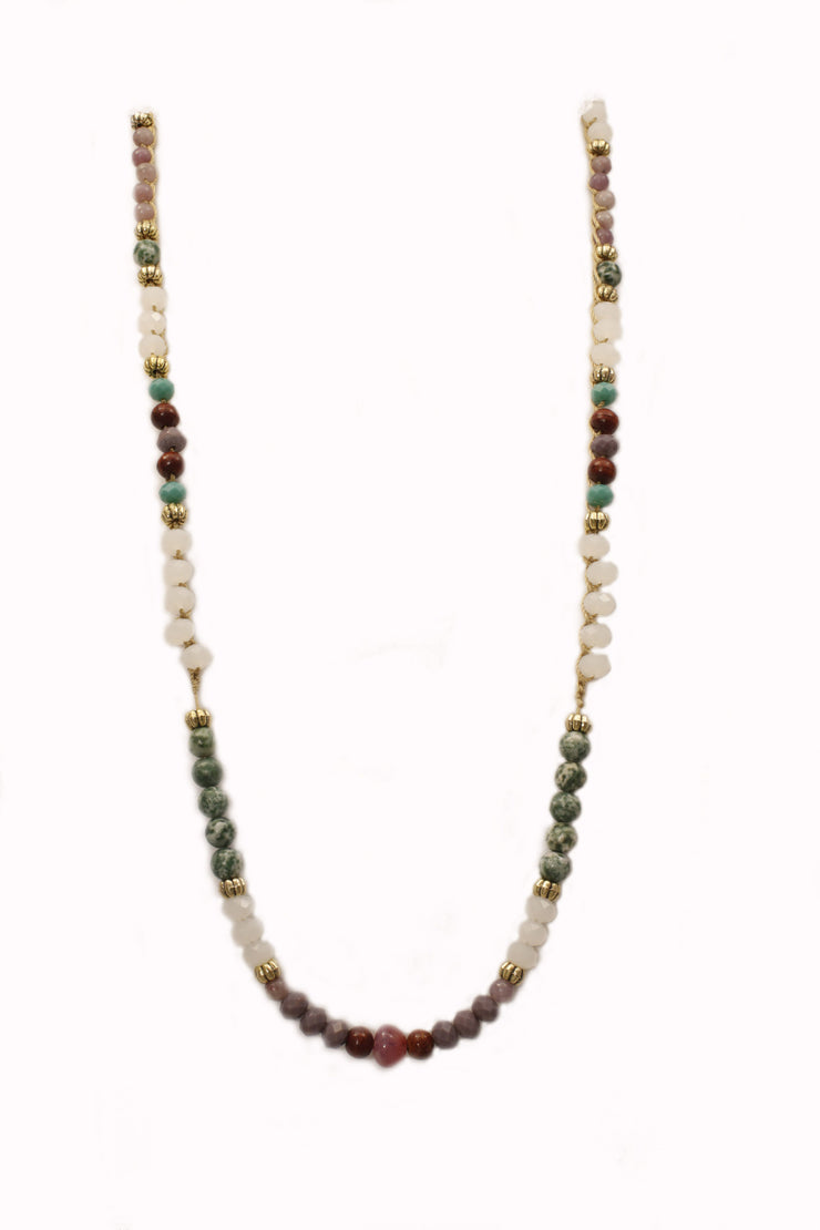 """MANTRA"" Multicolored Gemstone Beaded Meditation Chain - 42"""