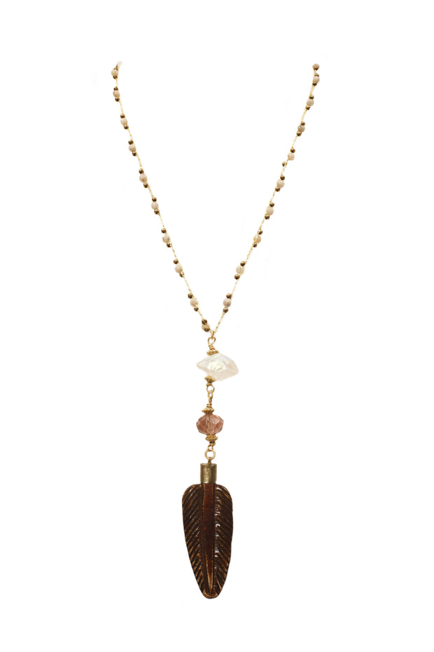 """CHARMED"" Wooden Leaf Pendant on Feldspar and Moonstone Long Beaded Necklace - 42"""