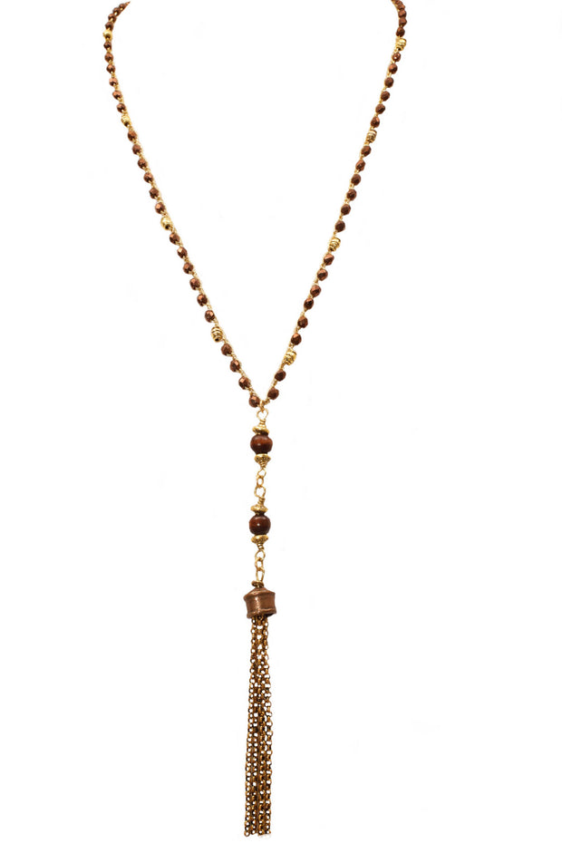 """CHARMED"" Wood Bead Long Tassel Layering Necklace - 42"""